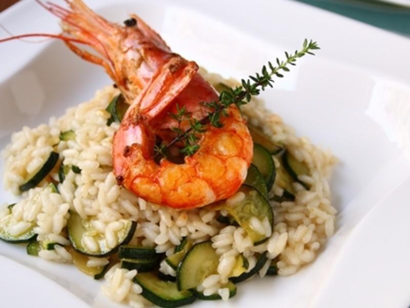大蝦與櫛瓜燉飯 Risotto con gamberi e zucchine