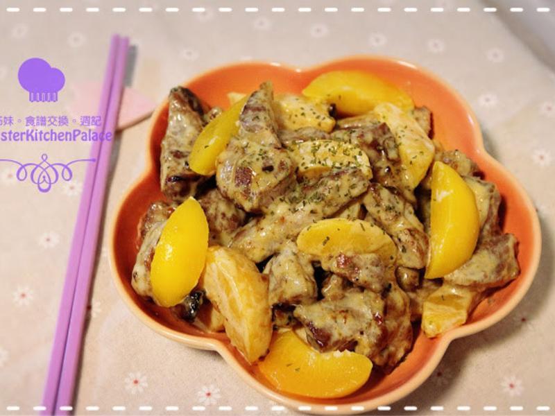 [水果料理]蜜桃美乃滋伴豬排