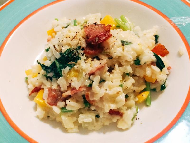 奶油培根菠菜燉飯