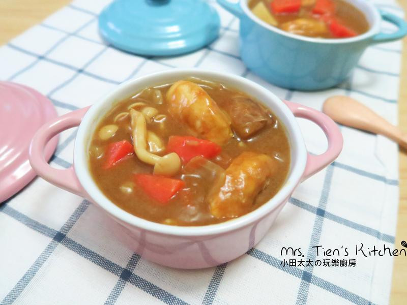 雞肉菇菇咖哩~雞胸肉又嫩又入味簡單學