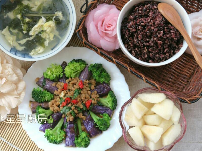 簡易魚香茄子+紫米糙米飯