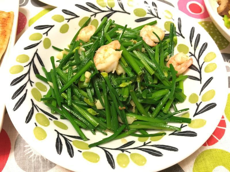 韭菜花炒蝦仁