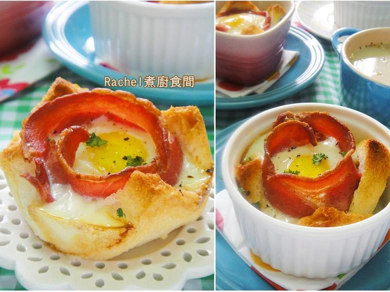培根雞蛋花吐司~好吃好看好簡單