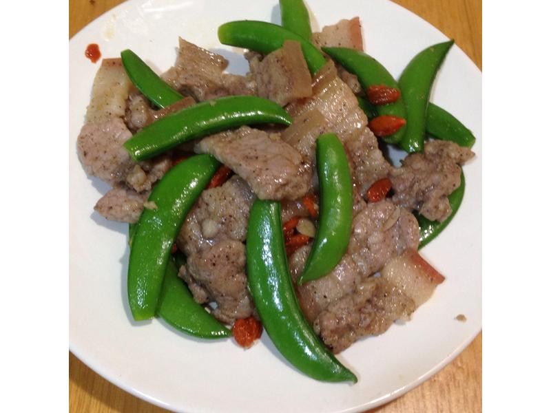 零廚藝~5分鐘料理-甜豆炒鹹豬肉