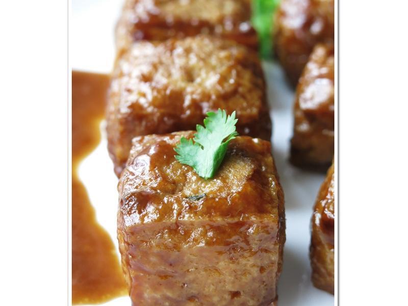 [醬燒油豆腐鑲肉]耐蒸下飯便當菜