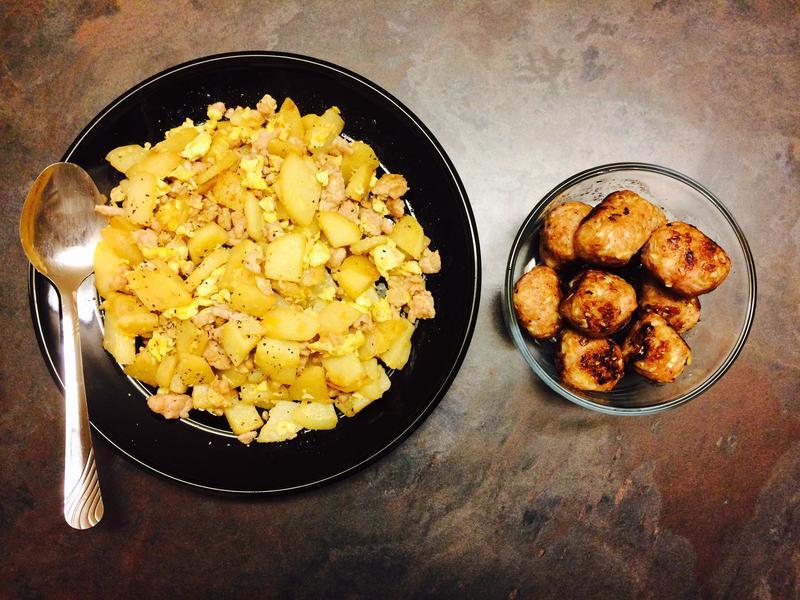 豬肉炒蛋馬鈴薯/ 豬肉丸