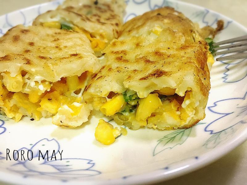 古早味玉米蔥花蛋餅(傳統餅皮)