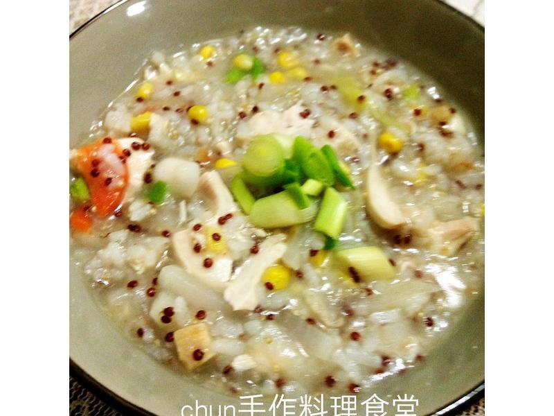雞蓉玉米蘿蔔粥