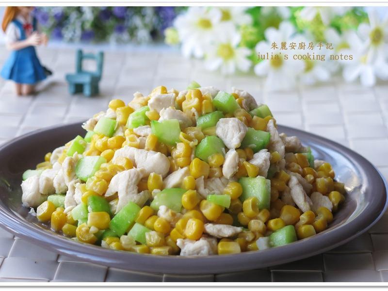 [甜玉米小黃瓜炒雞丁]簡易家常菜
