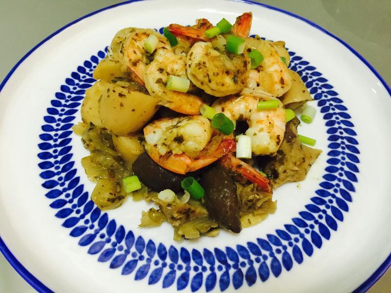 便當菜:青醬佐洋蔥菇菇鮮蝦
