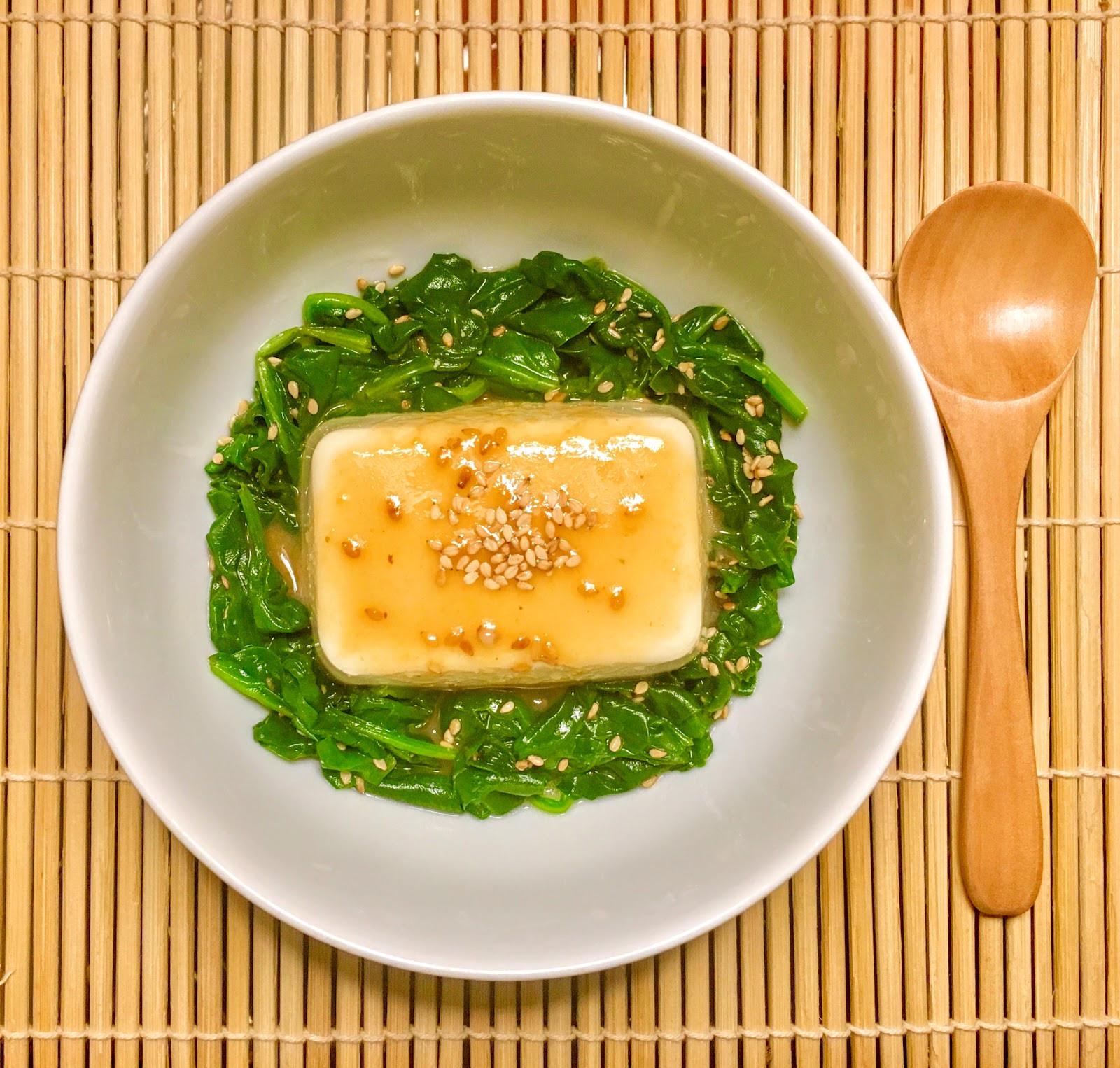 和風胡麻味噌涼拌菠菜豆腐
