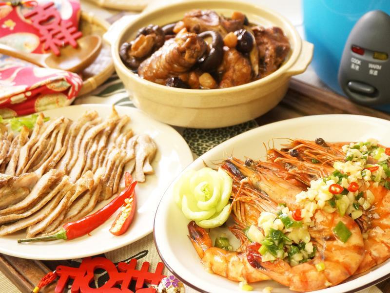 普洱珍味雞盅+富貴蒜香蝦+花雕松坂薄切