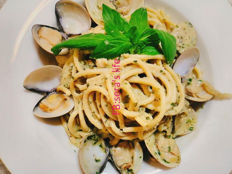 青醬蛤蜊義大利麵-奶油乳酪濃郁版