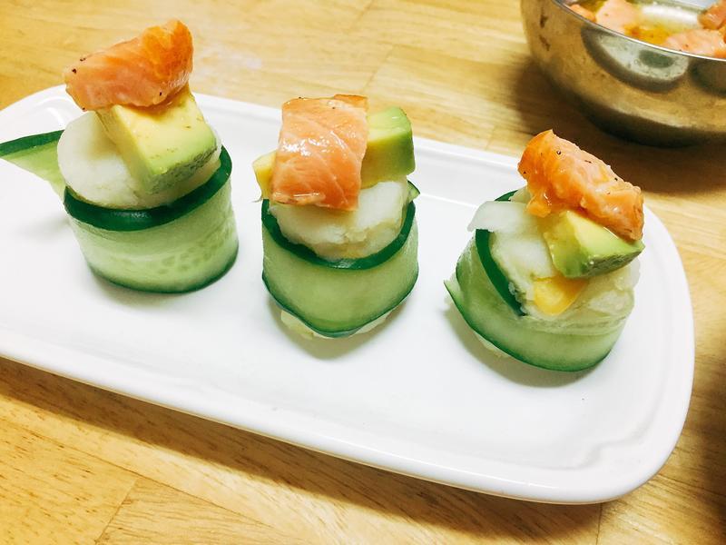 減重食譜-馬鈴薯鮭魚酪梨捲