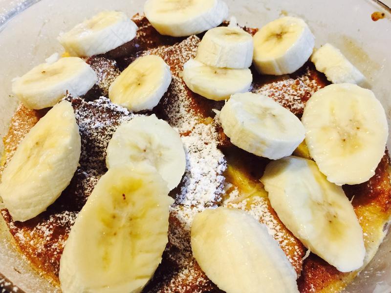 懶人愛甜點:法式麵包布丁佐香蕉