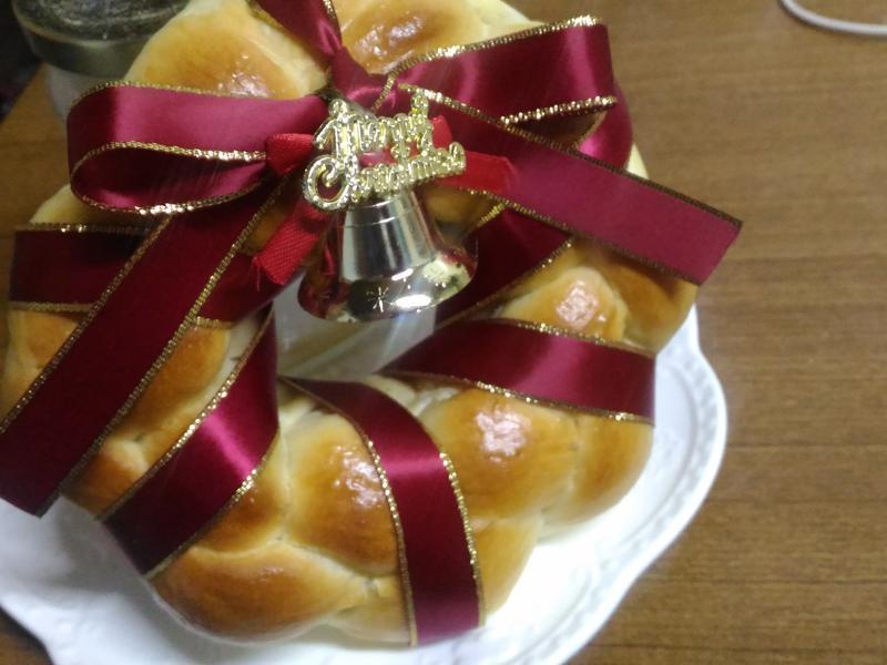 聖誕花圈麵包~手揉麵包可~超簡單