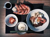 昆士蘭虎紋蝦牛排餐