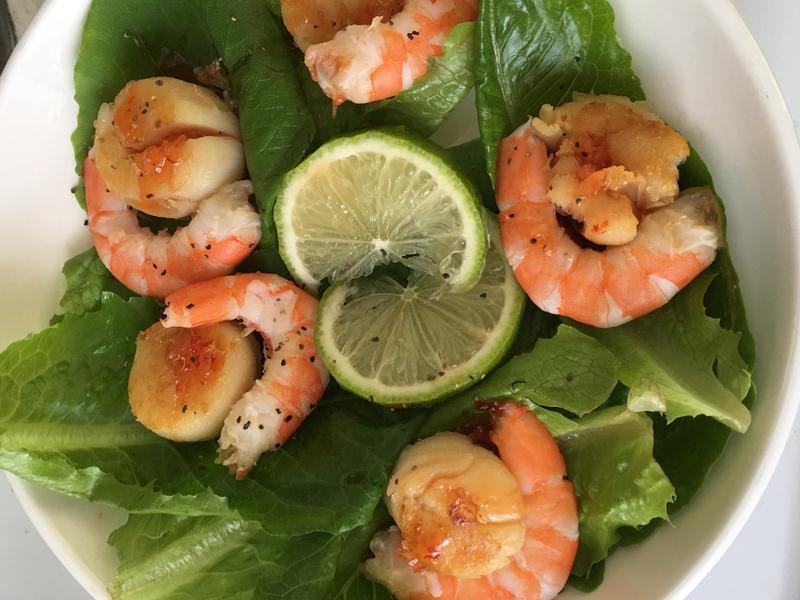 生菜鮮蝦干貝