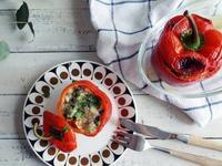 。蔬食。起司香菜藜麥鑲甜椒