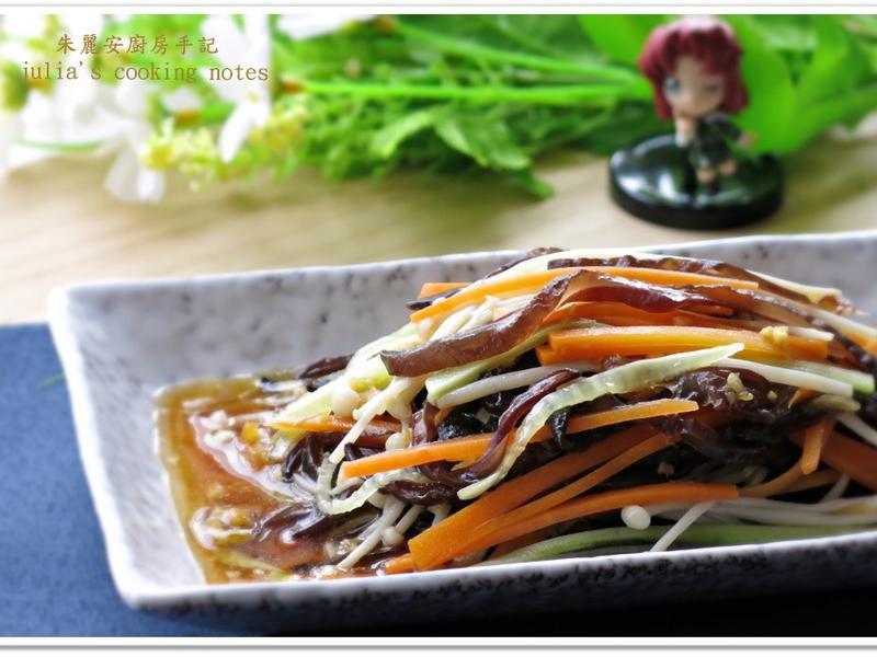 [涼拌四色蔬食]黑木耳金針菇胡蘿蔔小黃瓜