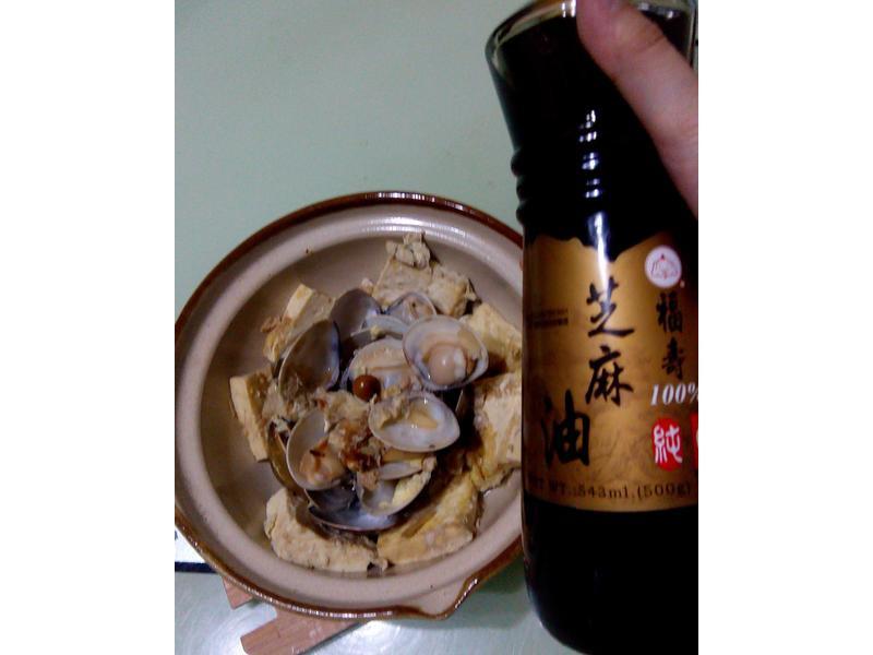 酒香蛤蜊蛋豆腐[福壽純芝麻油玩料理]