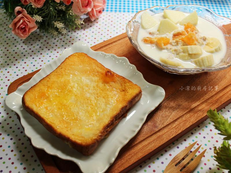 布丁法國吐司+水果燕麥