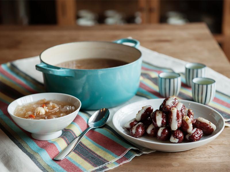 桂花糯米棗與銀耳蓮子湯
