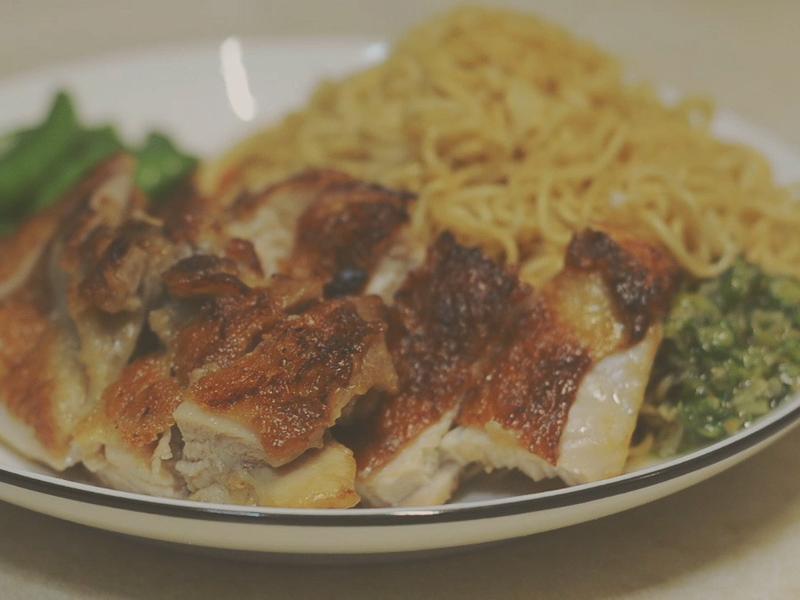 港式熱門麵點 蔥油雞扒撈丁 (簡易版)