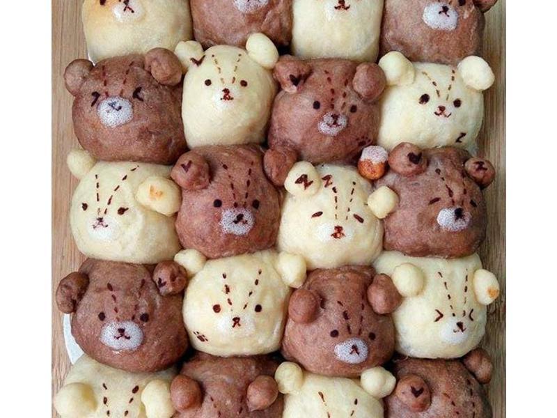 雙色泰迪熊鮮奶油餐包(萌萌手撕麵包系列)