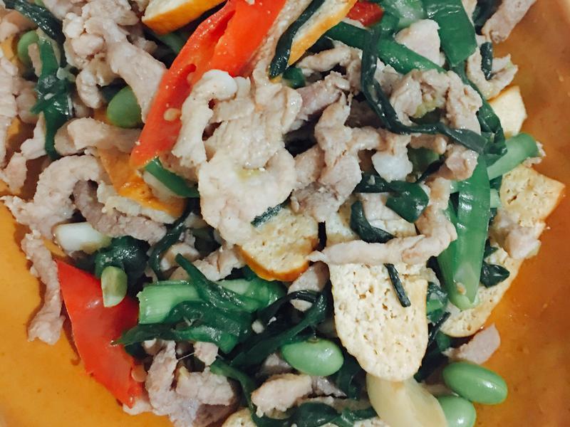 韭菜毛豆炒肉絲