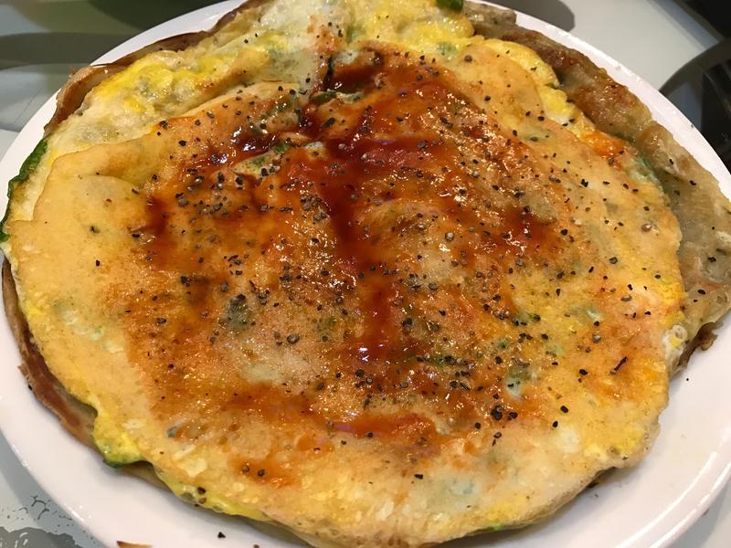 (蔥媽媽)蔥抓餅+蛋+菜