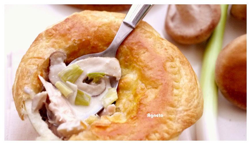 [阿妮塔♥yummy] 鮮菇青蒜烤雞肉派。
