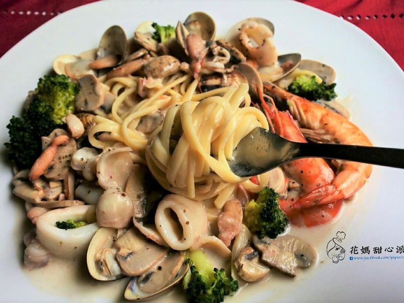 白醬蘑菇海鮮義大利麵(無奶油)