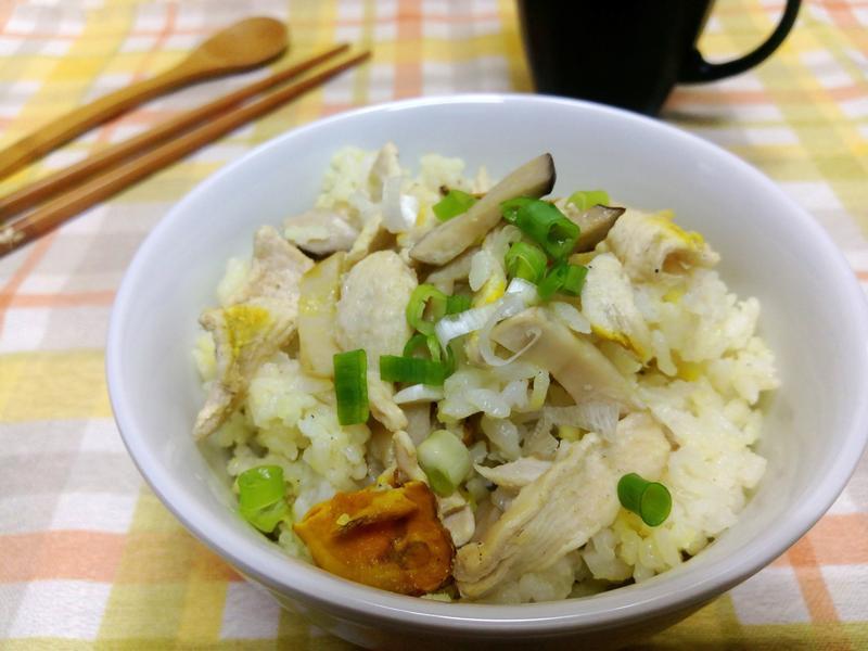薑黃麻油鮮菇雞肉炊飯
