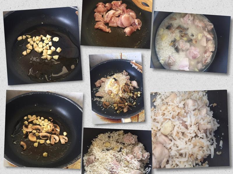 麻油蘑菇蒜頭雞飯