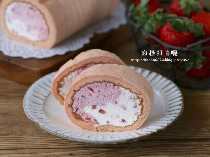 春季限定的草莓牛奶捲
