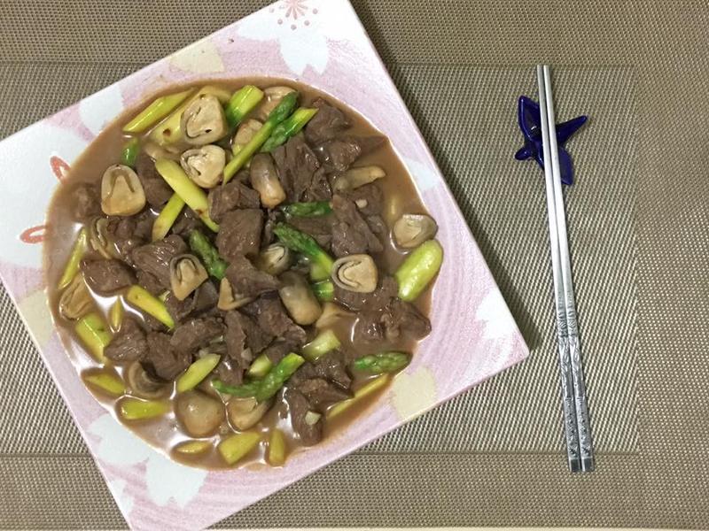 沙茶菇筍牛柳粒
