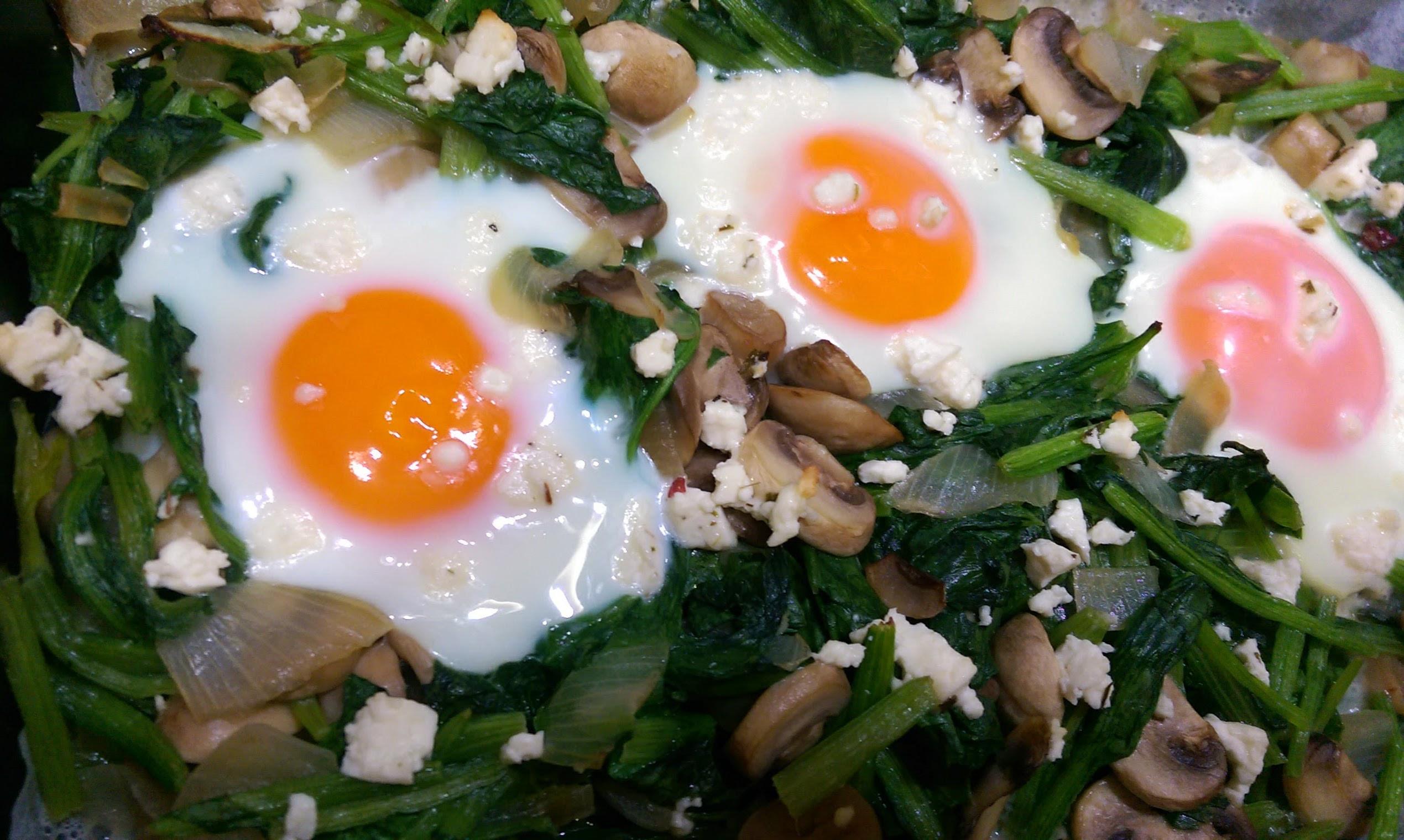 菠菜蘑菇烤蛋
