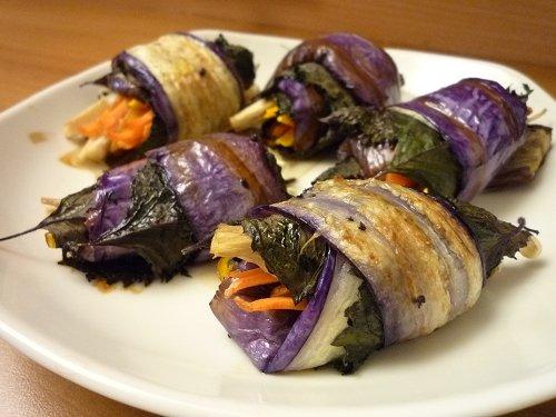 茄子紫蘇捲