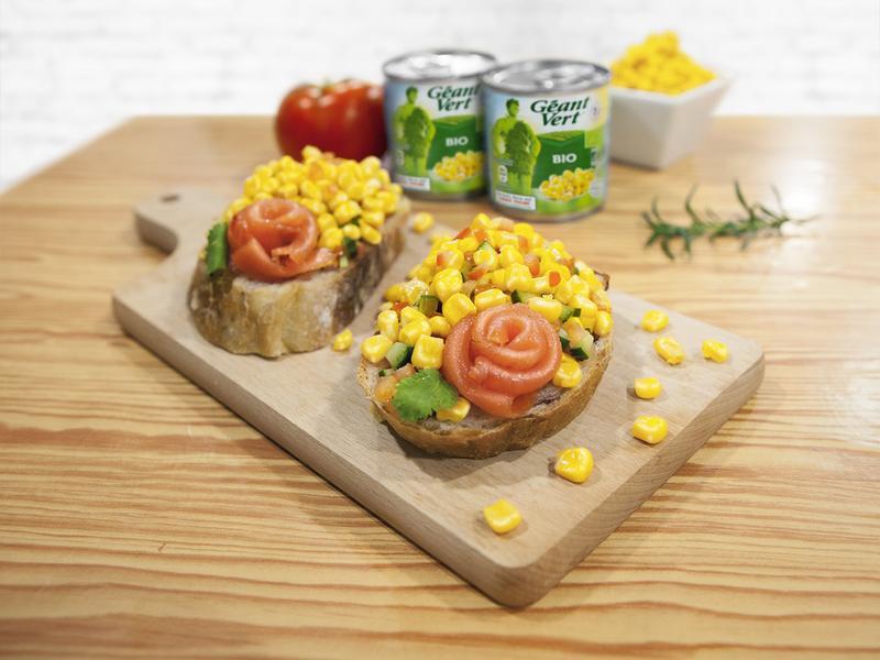 玉米燻鮭玫瑰麵包#綠巨人有機玉米粒