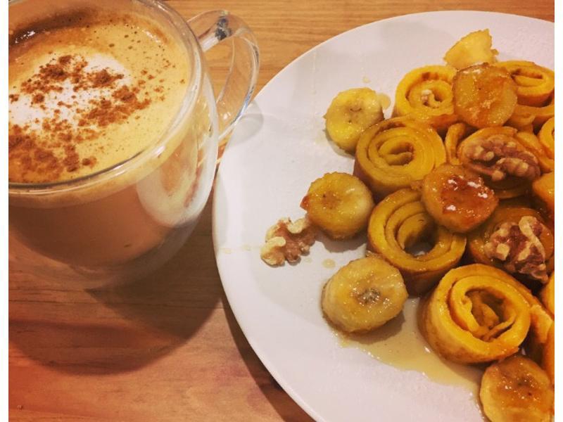 焦糖香蕉蜂蜜甜圈圈(超簡單鬆餅粉版)