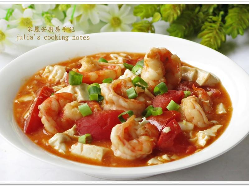 [鮮蝦番茄豆腐]簡易家常菜