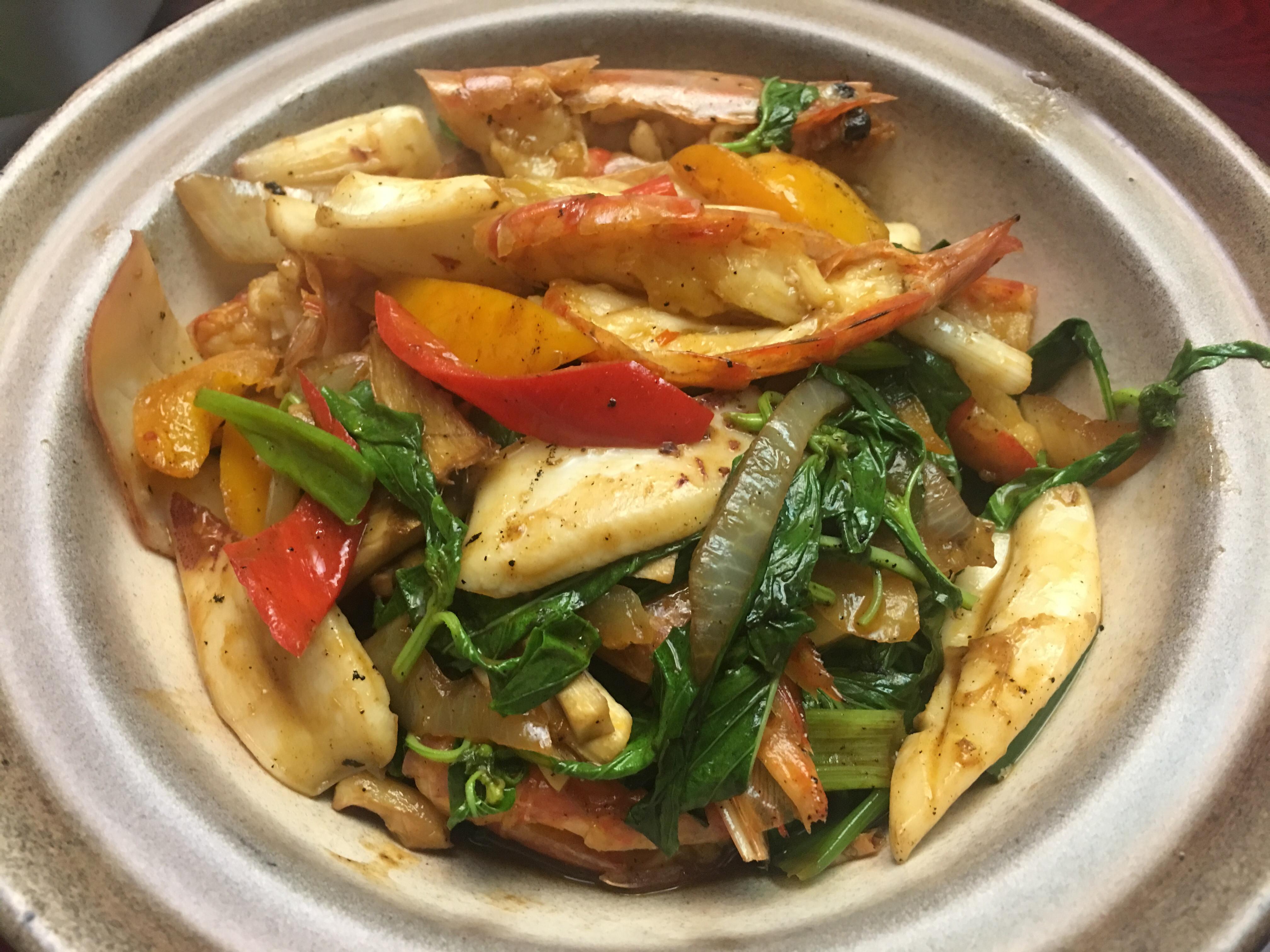 辣拌茄汁海鮮 (蝦+花枝)