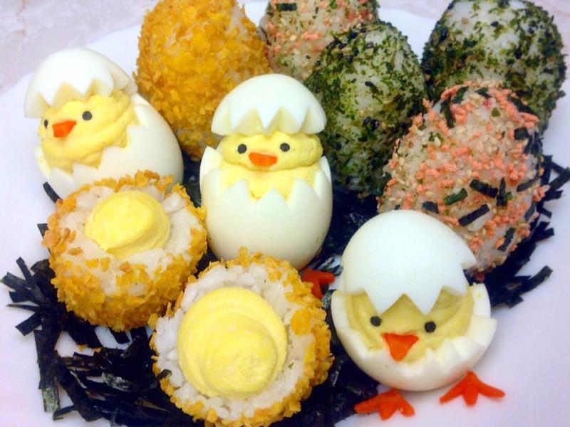 復活節小雞魔鬼蛋&彩蛋飯糰