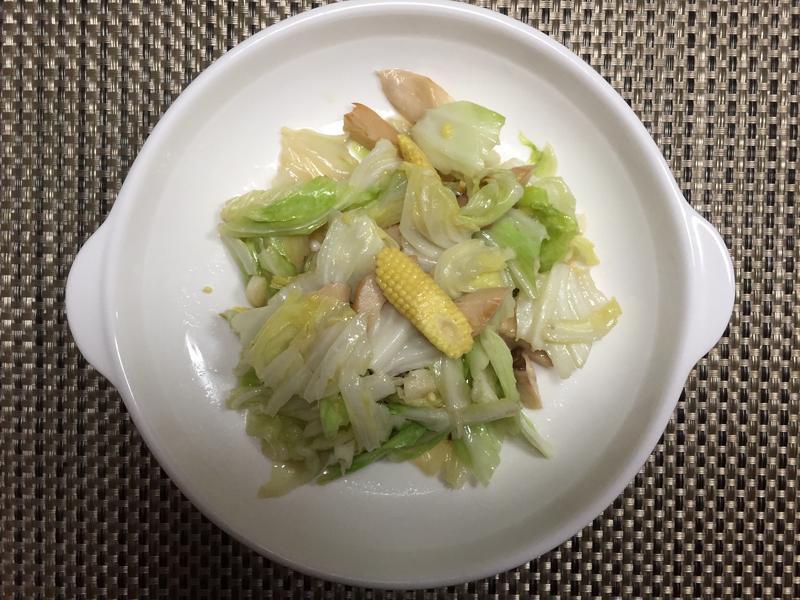高麗菜炒玉米筍杏鮑菇