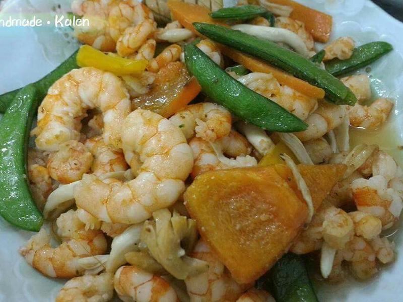 甜椒菇菇炒蝦仁