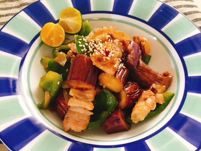 和風。味噌豬肉炒茄子青椒
