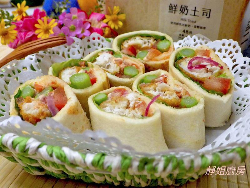 魚柳蔬食土司捲