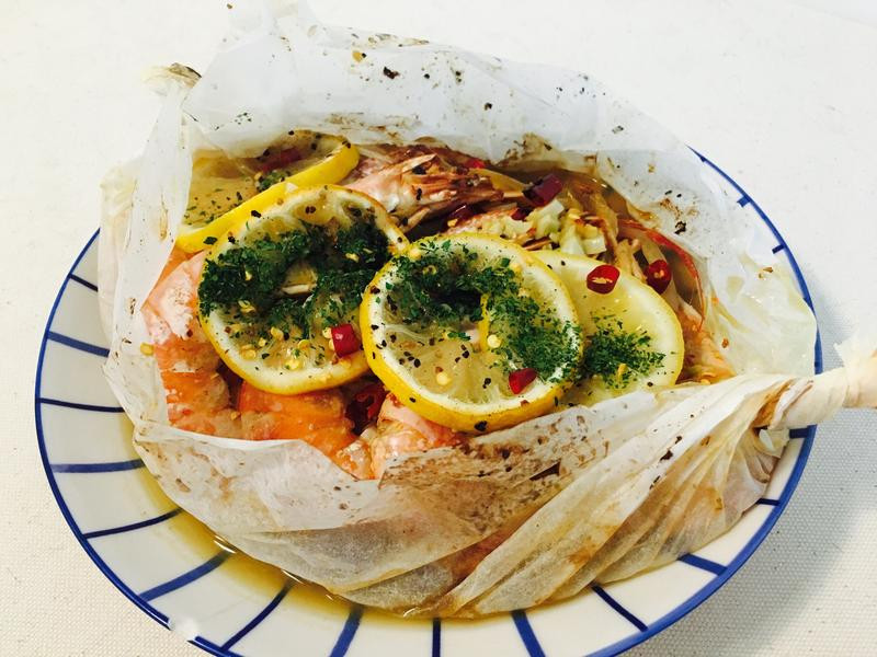 紙包蒜香檸檬蝦