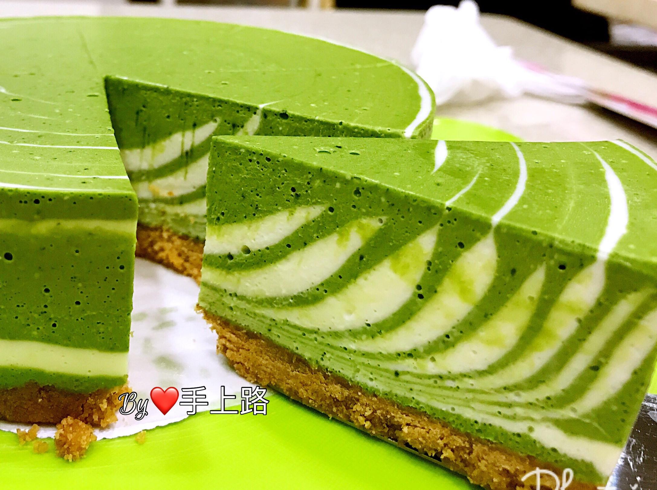 斑馬條紋日式抹茶乳酪蛋糕(6吋、免烤箱)